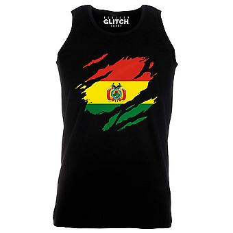 Reality glitch torn bolivia flag mens vest