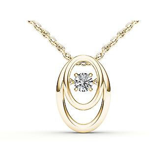Igi certified 10k yellow gold 0.15 ct natural diamond dancing pendant necklace