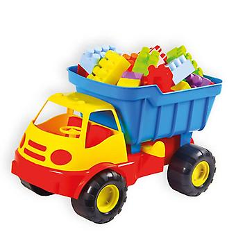 Mochtoys toy truck 10436 tipper with tilting function and colorful building blocks