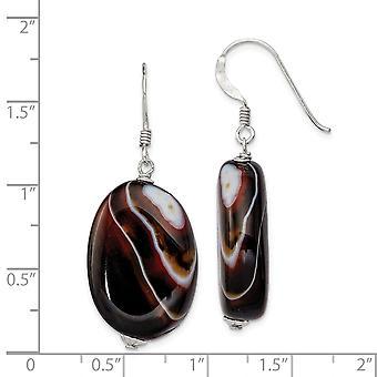 925 Sterling Silver Dangle Shepherd hook Carnelian Earrings - 7.6 Grams