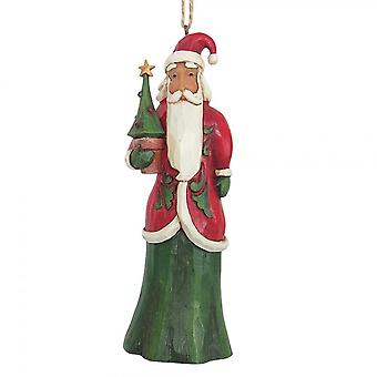 Jim Shore Heartwood Creek Folklore Santa With Tree Hanging Ornament