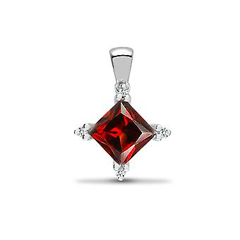 Jewelco London 18ct White Gold 3 Claw Set H I1 0.05ct Diamond and Princess Red 1.15ct Garnet Square Star Cluster Pendant