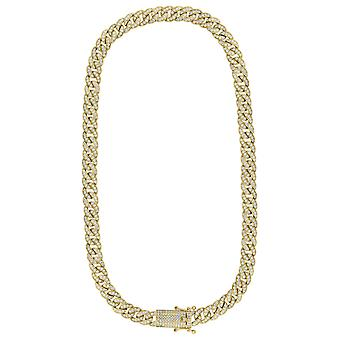 925 Sterling Silver Yellow Tone Mens Cubic Zirconia Miami Curb Chain 9mm  30 Inch Jewelry Gifts for Men