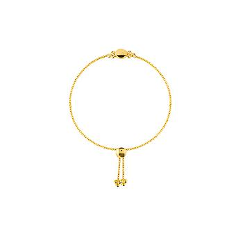 14k Yellow Gold 0.10 Dwt Trio Diamond Bezel and Disk Bolo Bracelet 9.50 Inch Jewelry Gifts for Women