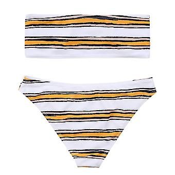 Lemonfish Women's Strapless Bra High Waist Thongs Horizontal Stripe Bandeau B...