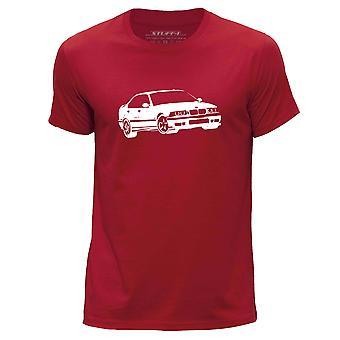 STUFF4 Men's Round Neck T-Shirt/Stencil Car Art / M3 E36/Red