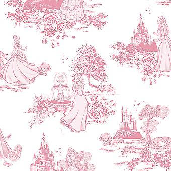 Disney Princess Toile De Jouy Wallpaper Graham and Brown Pink / White 70-233