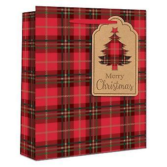 Eurowrap Christmas Tartan Gift Bags (Pack of 12)