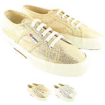 Womens Superga Lame Lace Up Glitter Plimsoll Canvas Trainers