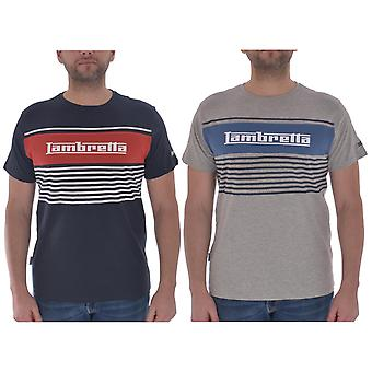 Lambretta Mens Panel Stripe Short Sleeve Casual Crew Neck T-Shirt Top Tee