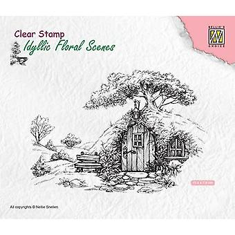 Nellie's Choice Clearstamp - Scene with old house IFS012 113x70mm