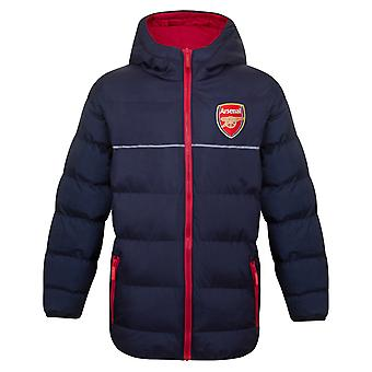 Arsenal FC Official Football Gift Boys Quilted Hooded Winter Jacket