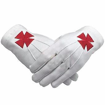 Freimaurer Ritter Templer rot nordische kreuz weiß Baumwolle Maschine Stickerei Handschuh
