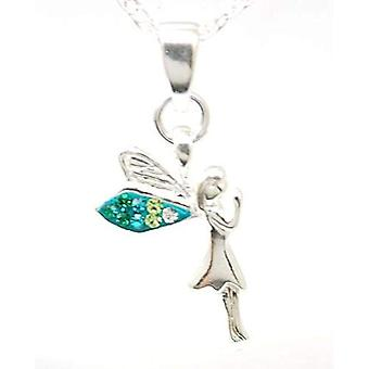 Toc Sterling Silver Green Fairy Pendant on 18 Inch Chain
