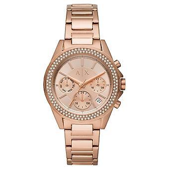 Armani Exchange Ladies 'Drexler' Round Rose Chronograph Dial Stone Bezel Rose Gold Plated Bracelet Watch AX5652
