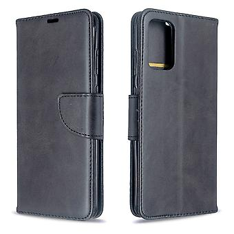 For Samsung Galaxy S20 Ultra Case, Retro PU Leather Wallet Cover with Stand & Lanyard, Black