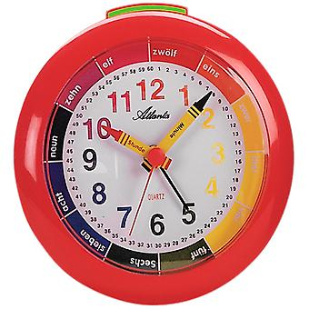 Atlanta 1265/1 Alarm clock children's alarm clock Quartz analog red colorful learning alarm clock for kids