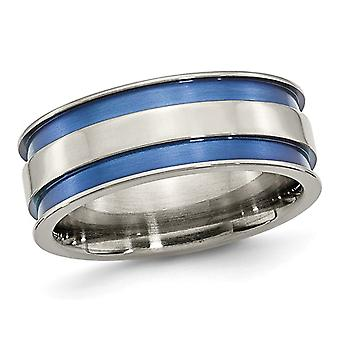 Titanuim Blue Adonized Double Grove 8.5m Band Ring