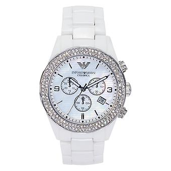 Armani Watches Ar1456 Ladies White Crystal Ceramica Watch
