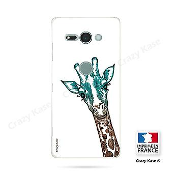 Hull For Sony Xperia Xz2 Compact Soft Giraffe Head Pattern On White Background