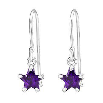 Star - 925 Sterling Silver Cubic Zirconia Earrings - W23319x