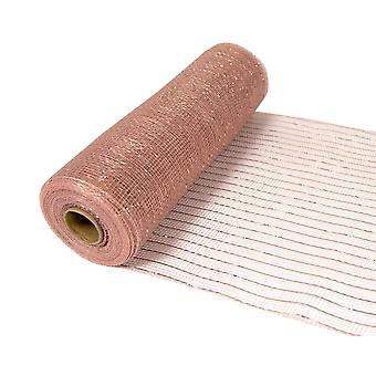 Metallic Rose Gold 25cm x 9.1m Deco Mesh Roll for Wreath Making & Floristry Crafts