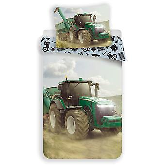 Tractor Single Cotton Duvet Cover and Pillowcase Set - European Size