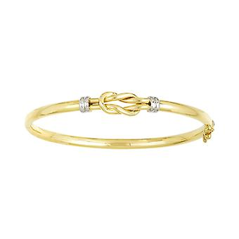 14k Yellow and White Gold Cuff Stackable Bangle Bracelet With Yellow Knot Two tone Tube And Hinged High Polish Jewelry G