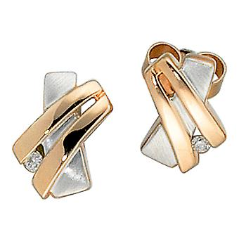 Studs 585 gold red gold part rhodium plated 2 diamonds brilliant earrings gold