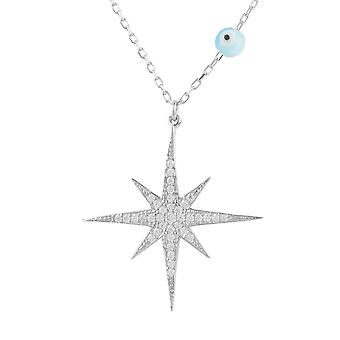 Latelita Star Burst Evil Eye Pendant Necklace CZ 925 Sterling Silver White
