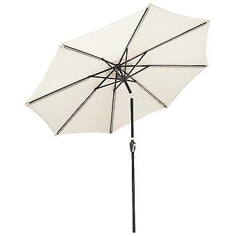 Yescom 10ft Solar LED Lighted Patio Umbrella with Tilt and Crank 8 Ribs Outdoor Market Umbrella for Table Garden