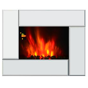 HOMCOM 1800W Wall Mounted Electric Fireplace Heater 7 Coloured LED Light Fire Glass Screen with Pebble Effect & Remote Control