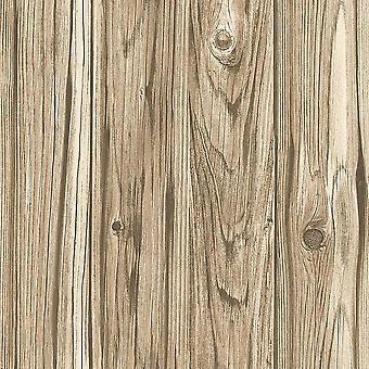 Amplio tablón de fondo de pantalla de madera panel efecto marrón beige rústico no tejido decoración fina