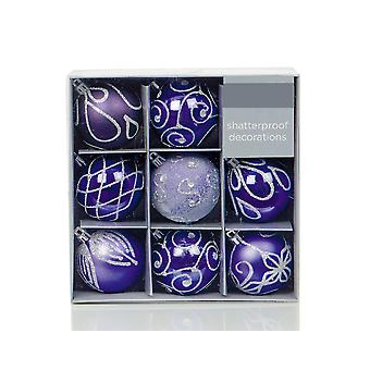 9 Royal Purple 6cm Embellished Shatterproof Christmas Tree Bauble Decorations