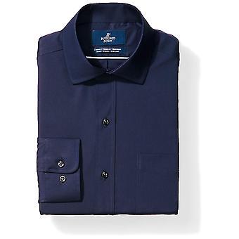 BUTTONED DOWN Men's Classic Fit Stretch Poplin Non-Iron Dress Shirt, Navy, 18...