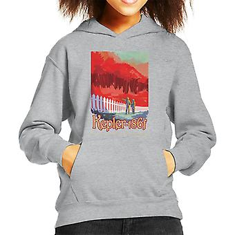 NASA Kelper 186f Interplanetary Travel Poster Kid's Hooded Sweatshirt