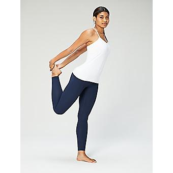 Brand - Core 10 Women's Yoga Fitted Support Tank, white, Medium