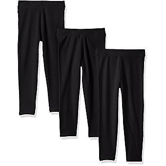 Essentials Little Girls' 3-Pack Leggings, Black/Black/Black, XS (4-5)