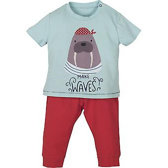 Mamino Baby Boy Waves Red and Blue  Pajama Set