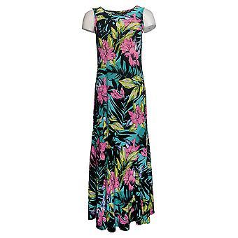 Attitudes By Renee Petite Dress Sleeveless Printed Maxi Style Black