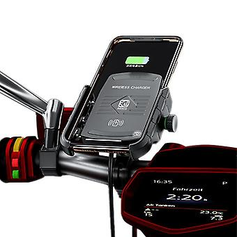 Bakeey 15 qi wireless charger quick charge 3.0 motorbike motorcycle handlebar phone holder for 4.0-6.5 inch qi-enabled smart phone (black)