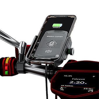 Bakeey 15 qi bezprzewodowa ładowarka szybkie ładowanie 3.0 motocykl motocykl uchwyt na telefon kierownicy dla 4,0-6,5 cala qi-enabled inteligentny telefon (czarny)