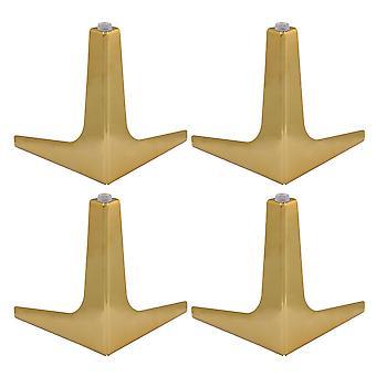 15cm Höhe Edelstahl Möbel Schrank Sofa Beine Füße Set von 4 golden