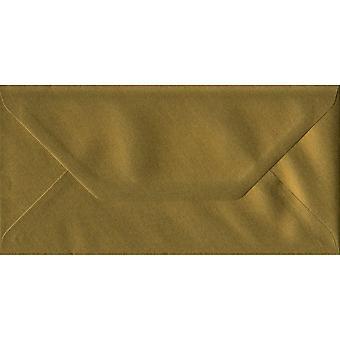 Oro gommata DL color oro buste. 100gsm carta sostenibile FSC. 110 mm x 220 mm. busta di stile del banchiere.