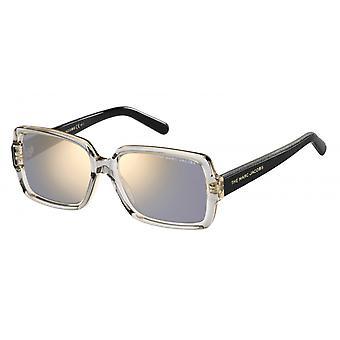 Sunglasses women rectangular black/transparent gold/grey