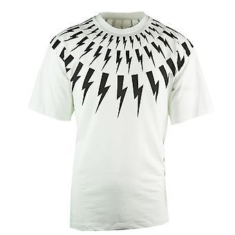 Neil Barrett Lightning Bolt Easy Fit Oversize weiß T-Shirt