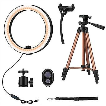 10 Inch Selfie-ring, Light With 50-inch Tripod Stand And Phone Holder