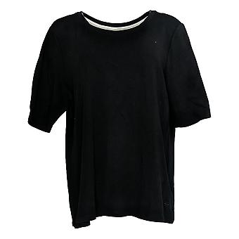 Isaac Mizrahi Live! Women's Top Essentials Elbow Sleeve Top Black A376658