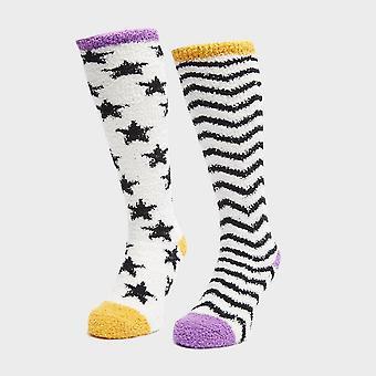 Shires Women's Fluffy Socks 2 Pack Multi