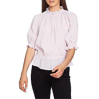 1.State | Short-Sleeve Micro-Check Blouse